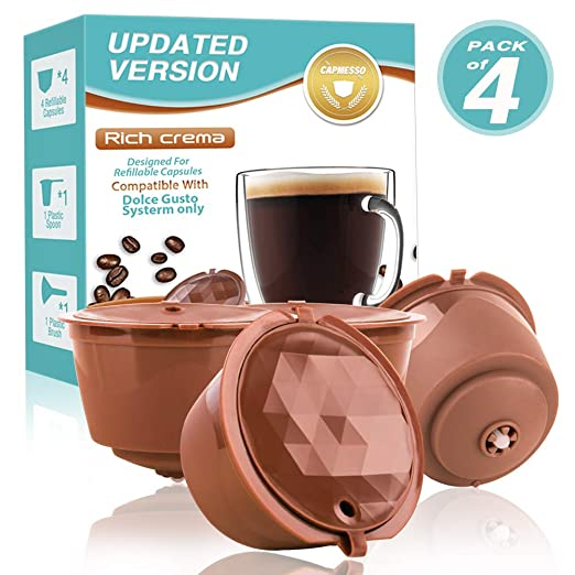 CAPMESSO Filtros Cápsulas de Café Recargable Reutilizable para Cafetera Dolce Gusto Version Mejorado Presión Aumentada Y Más Espuma Vida útil más de ...