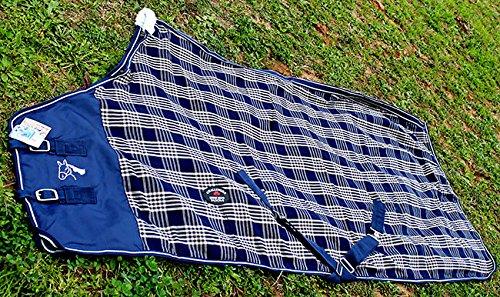 72 inches CHALLENGER Horse Cotton Sheet Blanket Rug Summer Spring Navy Tan 5337