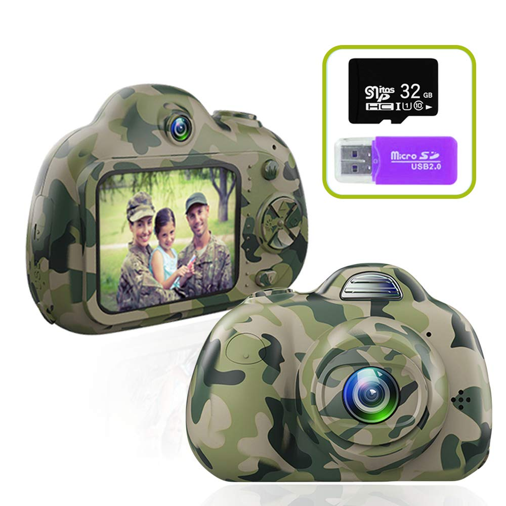PerfectPromise Kids Camera,Great Gift for 3-10 Years Old Boys Girls,Dual 8MP HD Video Toy Camera & Camcorder with Soft Silicone Shell for Child Outdoor Play --Camo (32G TF Card Included)
