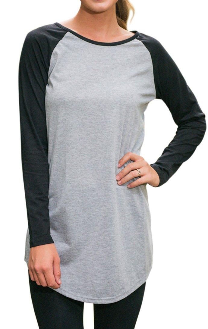 Halife Women's Crewneck Raglan Sleeve Long T-shirt Tunics Tops (XL, Black)