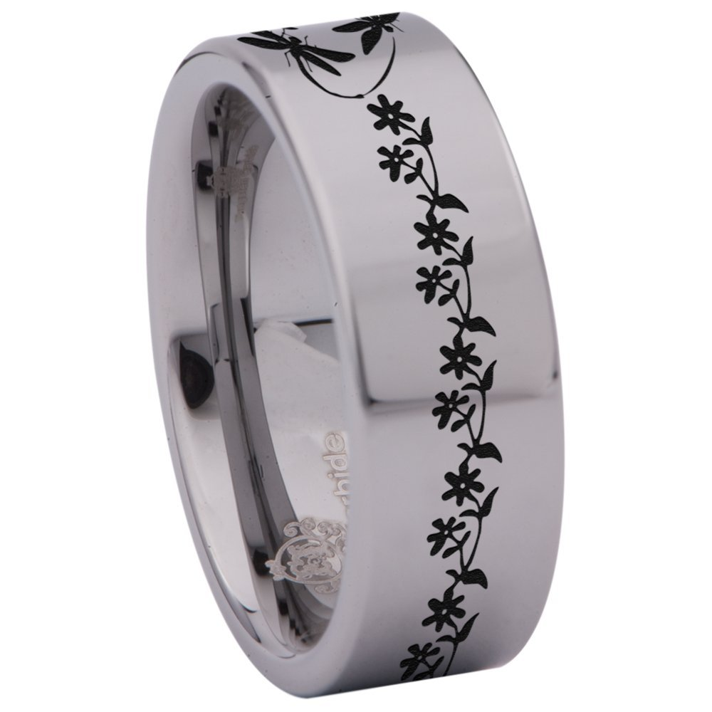 Silver Tungsten Carbide Dragonfly Ring Animal Inspired Wedding Band Anniversary Ring 8mm for Men and Women Size 6