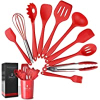 Kitchen Utensils Set Silicone Cooking Non-Stick Set Cookware Heat Resistant Easy to Clean Spatula Set Holder Included 11 Pcs Red
