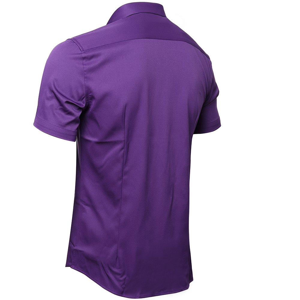 7b23e58a66a Harrms Mens No Iron Slim Fit Dress Shirts Bamboo Fiber Short Sleeves  Elastic Button Down Dress Shirts