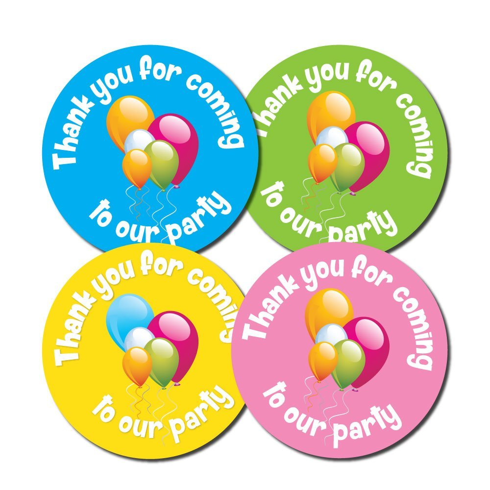 'Thank You For Coming To OUR Party' - 30mm diameter party stickers - 4 colours (144) StickerZone