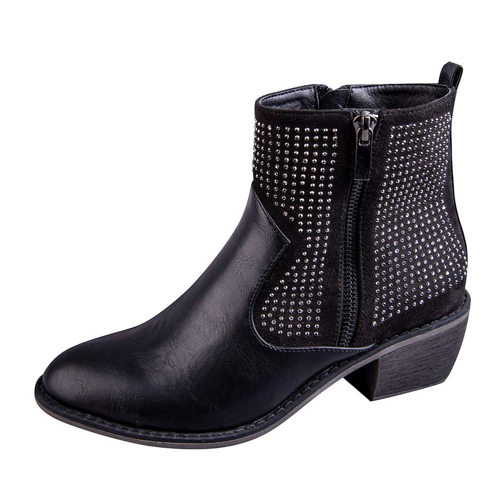 ZOMUSAR Women's Boots, Women's Flats Round Toe High-Heeled Rivets Casual Shoes Non-Slip Ankle Booties Black by ZOMUSAR