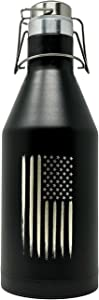 American Flag Stainless Steel Growler - Double-Walled Vacuum Insulated 64oz Growler with Swing-Top Lid
