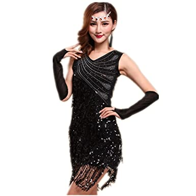dce39e4c2dc WILLLIN Womens Black Red Blue Ballroom Latin Tango Rumba Cha Cha Samba  Dance Dress (M