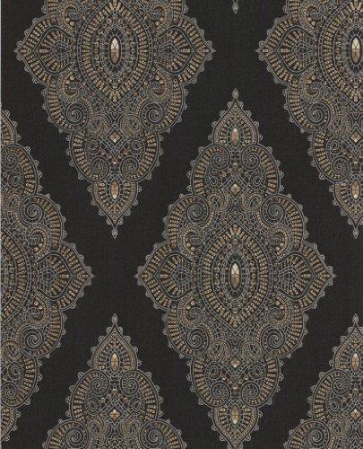Graham-Brown-31-166-003-Jewel-Black-Gold-Papel-pintado-diseo-de-rombos-color-negro-y-dorado