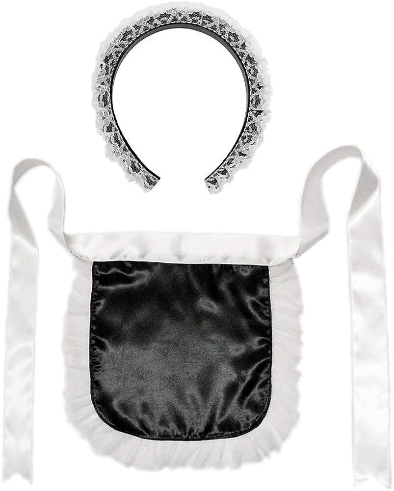French Maid Headband & Apron Costume Set - Halloween Accessory Kit
