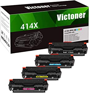 Victoner Compatible Toner Cartridge Replacement for HP 414X W2020X W2021X W2022X W2023X 414A W2020A for HP Color Laserjet MFP M479FDW M479FDN M454DW M454DN (Black Cyan Magenta Yellow, 4-Pack)