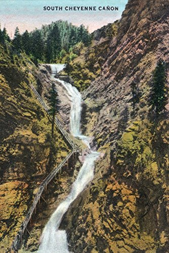 Colorado Springs, Colorado - View of Seven Falls (24x36 SIGNED Print Master Giclee Print w/Certificate of Authenticity - Wall Decor Travel -