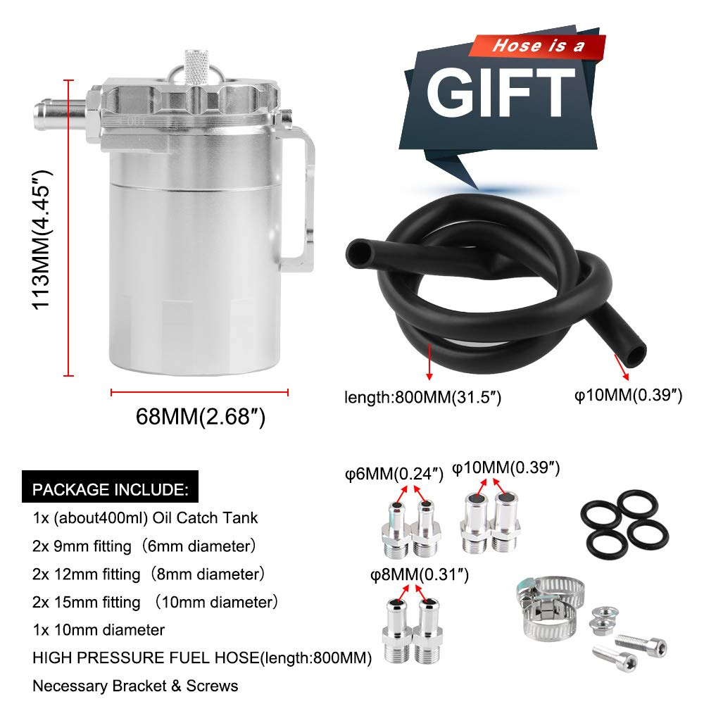 Ruien Polish Baffled Universal Aluminum Oil Catch Can Reservoir Tank with Adapter for BMW