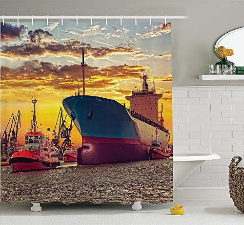 [Nautical Decor Collection Giant Transportation Ship Escorting Tugs Leaving Port in City Water at Sunset Marine Photo Polyester Fabric Bathroom Shower Curtain] (Nerd Costumes At Party City)