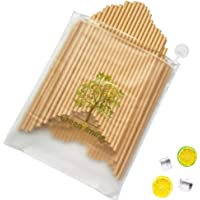 Brown Paper Straw Kraft Color Drinking straw, Natual Orginal Paper Straws 100 pcs in Reusable Zipper bag, Biodegradable…