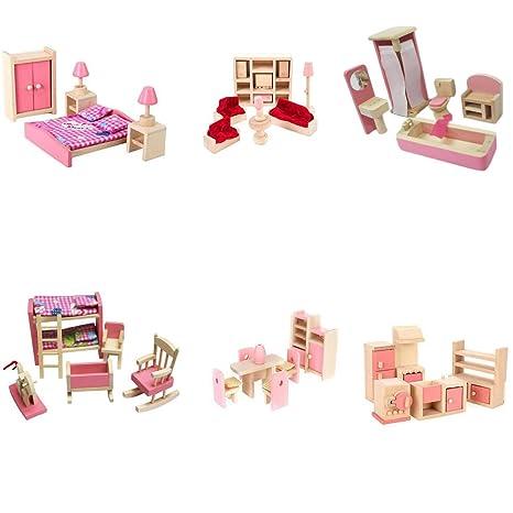 Amazon.com: Juego de 6 muebles de casa de muñecas para niños ...