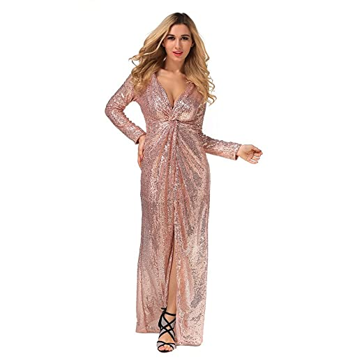 55f926c5a65f Geccinice Elegant Deep V Neck Gold Sequins Maxi Dress Bandage Long Sleeve  Party Club Sexy Split