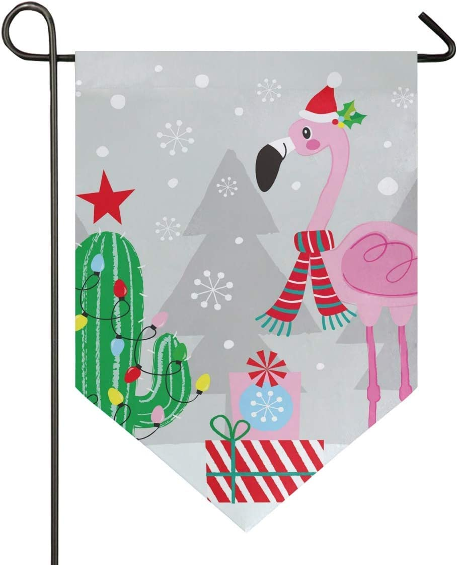Lufesan House Flag Christmas Flamingos with Cactus Garden Flag 28x40 inches Double Sided Decorative Yard Flag for Home Decor Outdoors
