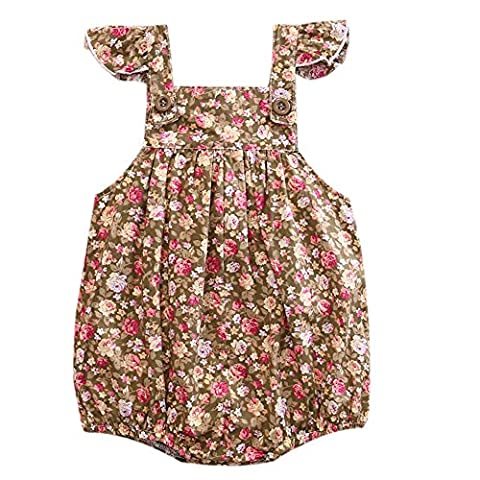 Newborn Baby Girls Full Floral Print Fly Sleeve Buttons Ruffle Romper Sleeveless Bodysuit (12-18M, - Button Fly Suit