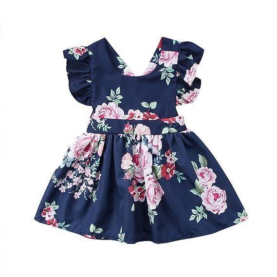 OPAKY Niñas Pequeños Bebés Flor sin Espalda Fiesta Vestido ...