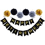 Happy Retirement Banner Bunting-Retirement Party Supplies Favors ,Gifts and Decorations