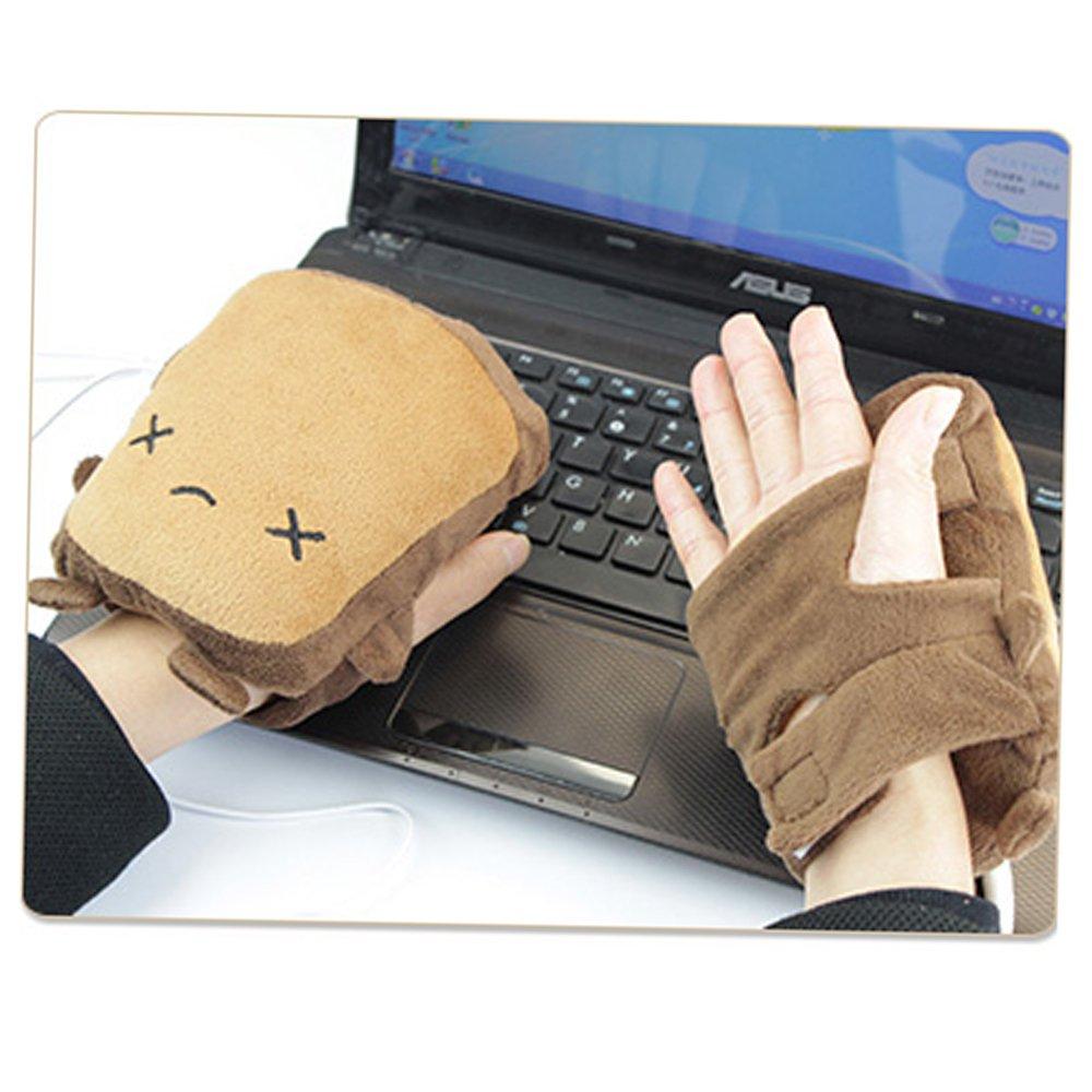 vanki USB Gloves New Laptop Women's USB Heated Half Winter Warm Hand Gloves Warmer Wool Little Bear 1pcs