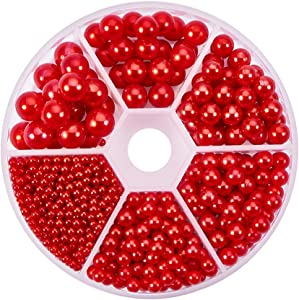 PH PandaHall About 1113 Pieces 6 Sizes No Holes/Undrilled Imitated Pearl Beads for Vase Fillers, Wedding, Party, Home Decoration, Red (2.5mm, 4mm, 5mm, 6mm,7mm, 8mm)