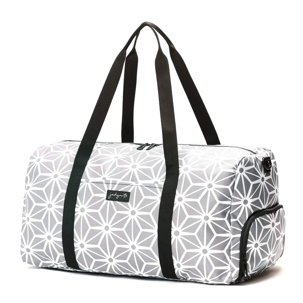 Jadyn B 22 Women s Weekender Duffel Bag with Shoe Pocket Geometric Gray