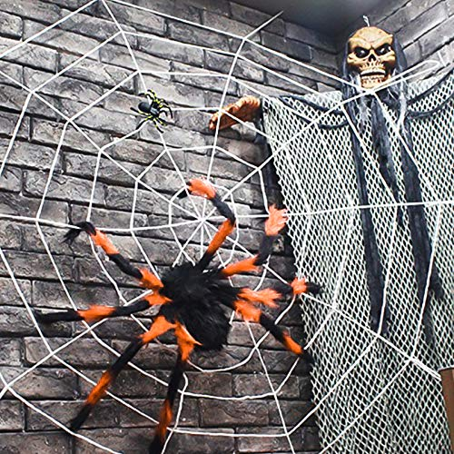 Outdoor Halloween Decorations, Scary Spider with Spider Web, Best for Halloween Party Decorations, Party Favors]()
