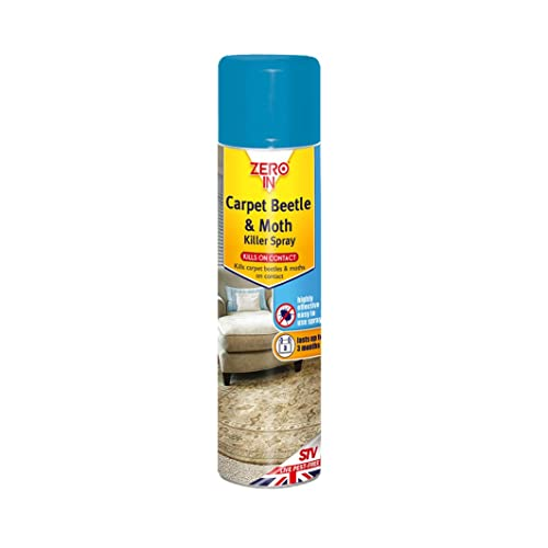 Zero In Carpet Beetle & Moth Killer Spray, 300 ml Aerosol, Treatment for Carpets, Upholstery and Surfaces in the Home