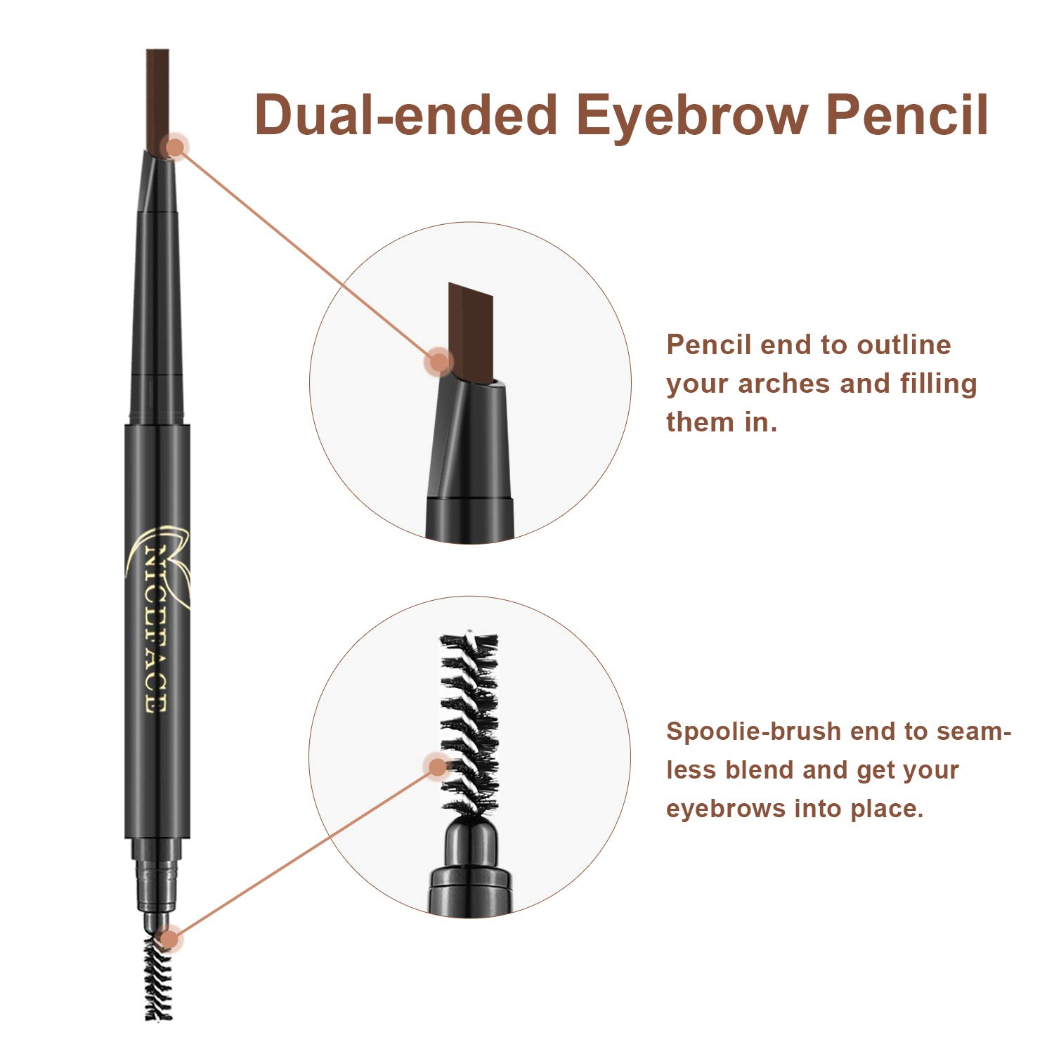 3-in-1 Eyebrow Pencil Brow Stylist Definer, Waterproof, Sweat-proof, Smudge-proof and Long-lasting Brow Filler, Dark Brown/Light Brown/Coffee, 0.01 oz by NICEFACE (Image #4)