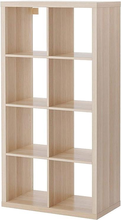 BPIL KALLAX - Estantería (madera de roble, 77 x 147 cm), color blanco