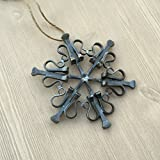 Cheap Snowflake Equestrian Ornament made from Authentic Draft Horse Horseshoe Nails, HANDMADE in NEW HAMPSHIRE, USA