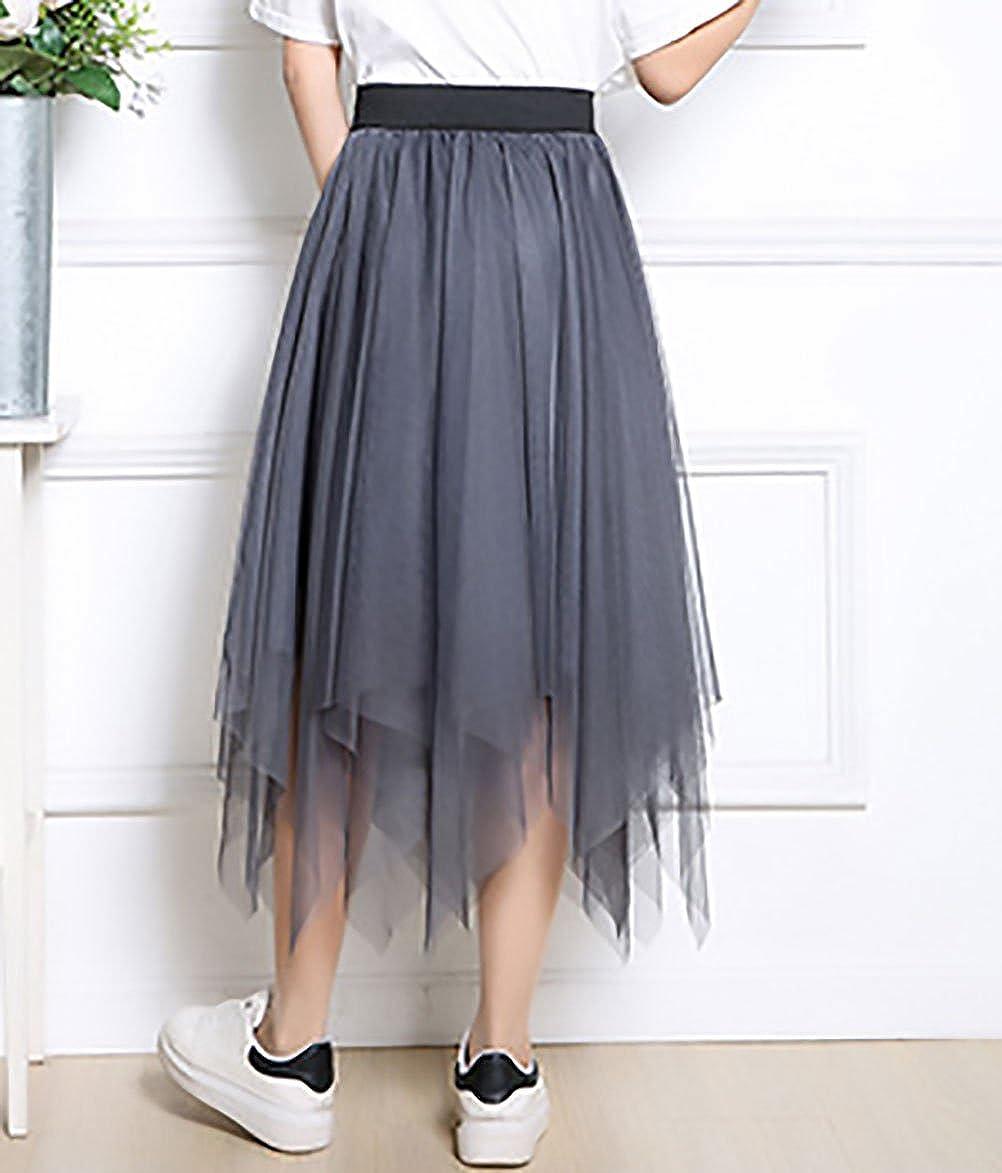 Faldas Mujer Verano Malla Falda Larga Cintura Alta Asimetricas ...