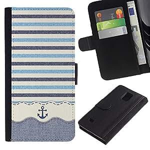 iKiki Tech / Cartera Funda Carcasa - Stripws Crocheted Fabric Boat - Samsung Galaxy Note 4 SM-N910F SM-N910K SM-N910C SM-N910W8 SM-N910U SM-N910