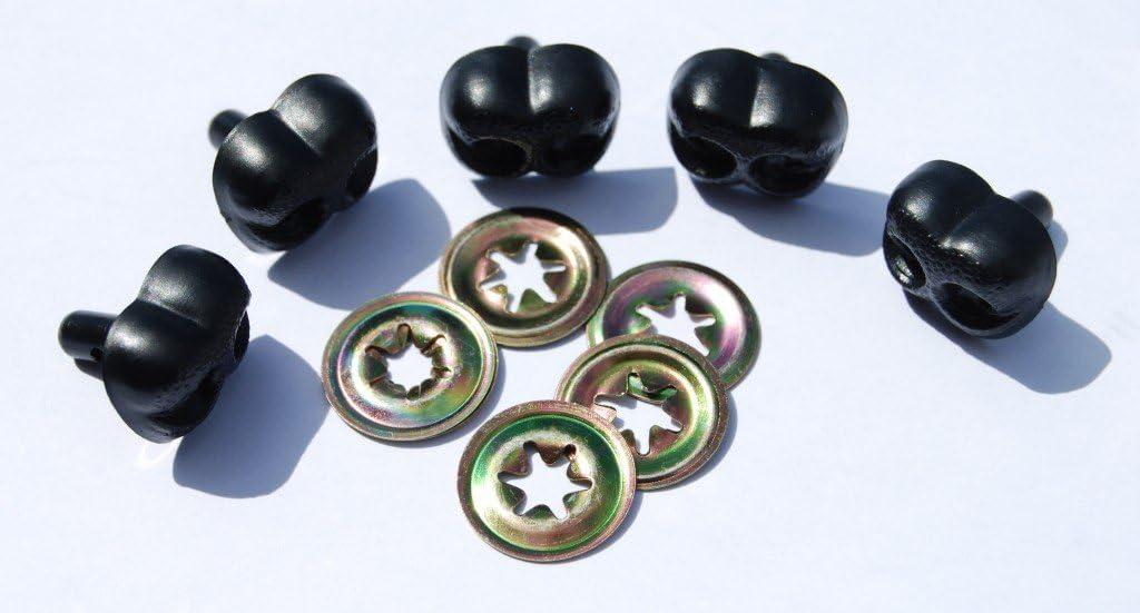 5 St/ück Schwarz Celloexpress/® Nasenscheiben f/ür Teddyb/är und Pl/üschtiere 8 mm Schwarz Metall