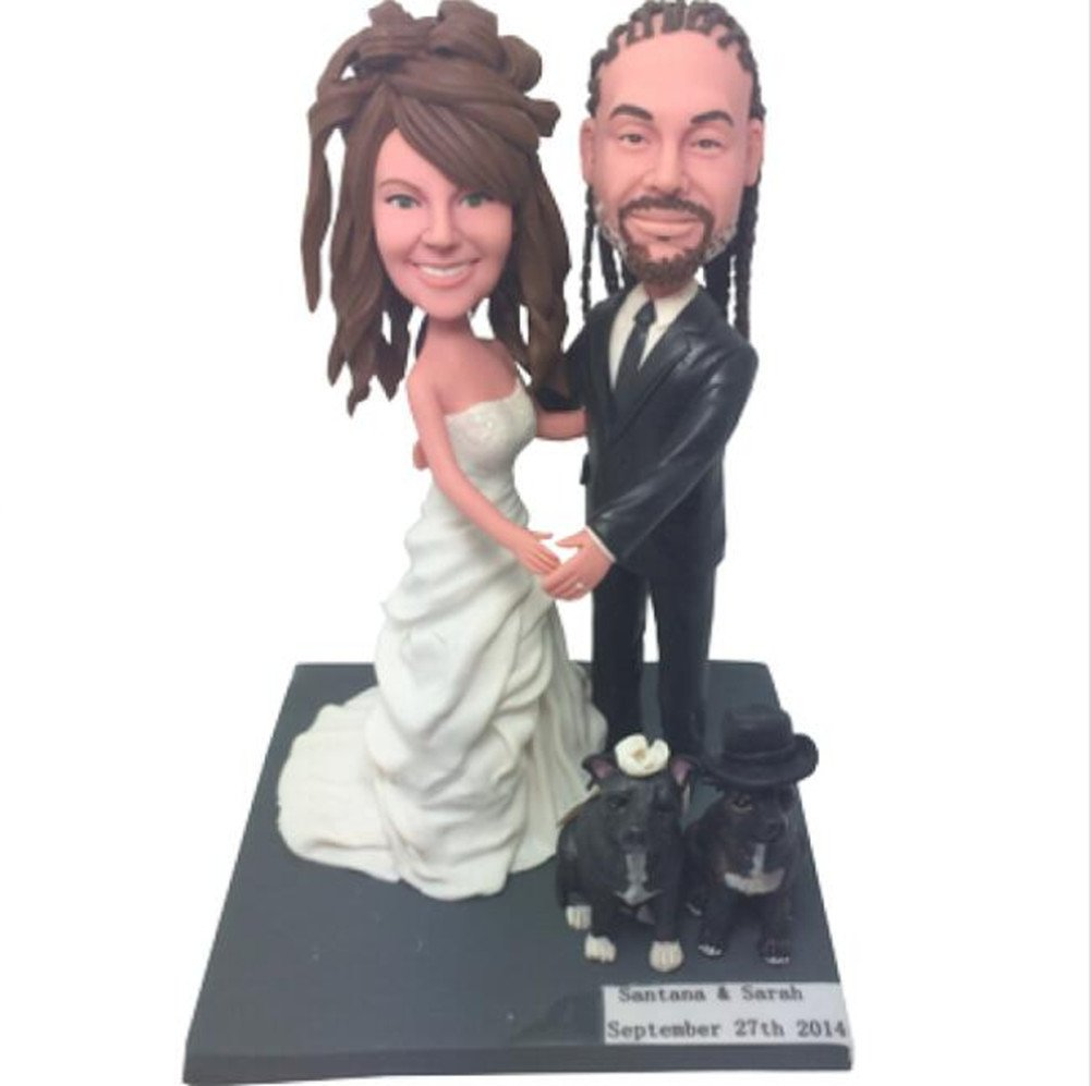 Custom Create Your Own Couple Dogs Wedding Bobble head Polymer Clay Handmade Bobbleheads Cake Toppers