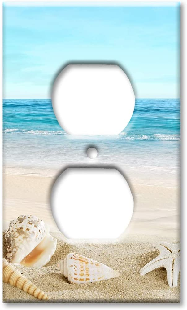 Art Plates Duplex Outlet Cover Wall Plate - Seashells on the Beach