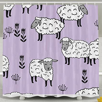 MropLtoa Purple Sheep Shower Curtain Repellent Fabric Mildew Resistant Machine Washable Bathroom Anti Bacterial Polyester