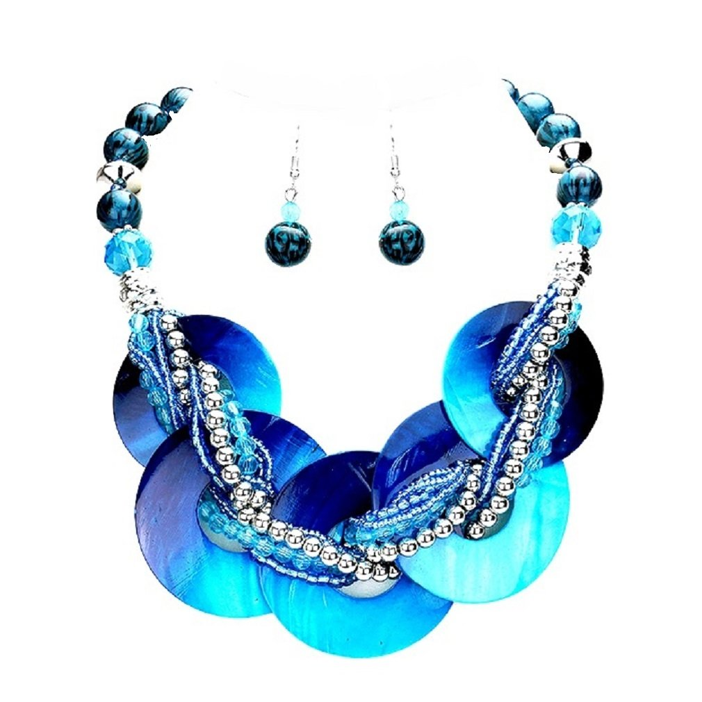 Chunky Statement Blue Abalone Shell Braided Strand Silver beads Necklace Earrings Set Jewelry