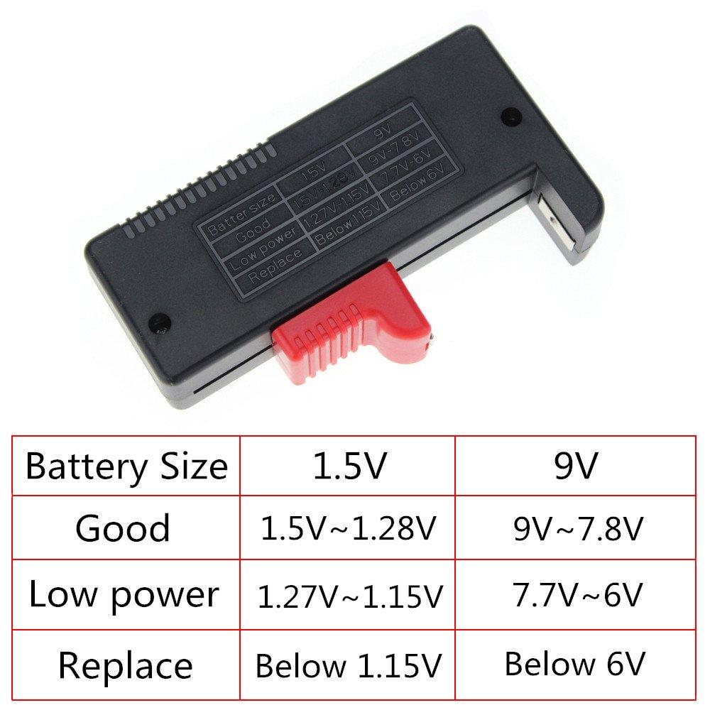 Comprobador de bater/ía Digital Universal para Pilas AA AAA C D 9 V 1,5 V BT-168D Xueliee