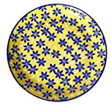 Spiceberry Home Yellow and Blue Porcelain Plate, Sakura Flowers, 10-Inch, Set Of Four