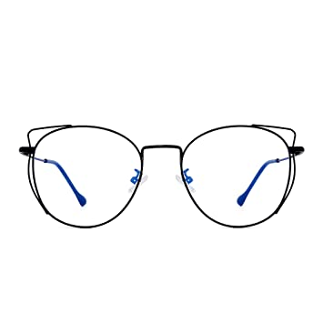 5a3ec0850b Blue Light Blocking Computer Glasses Designer Cat Eye Round Metal RX-able Eyeglasses  Frame for