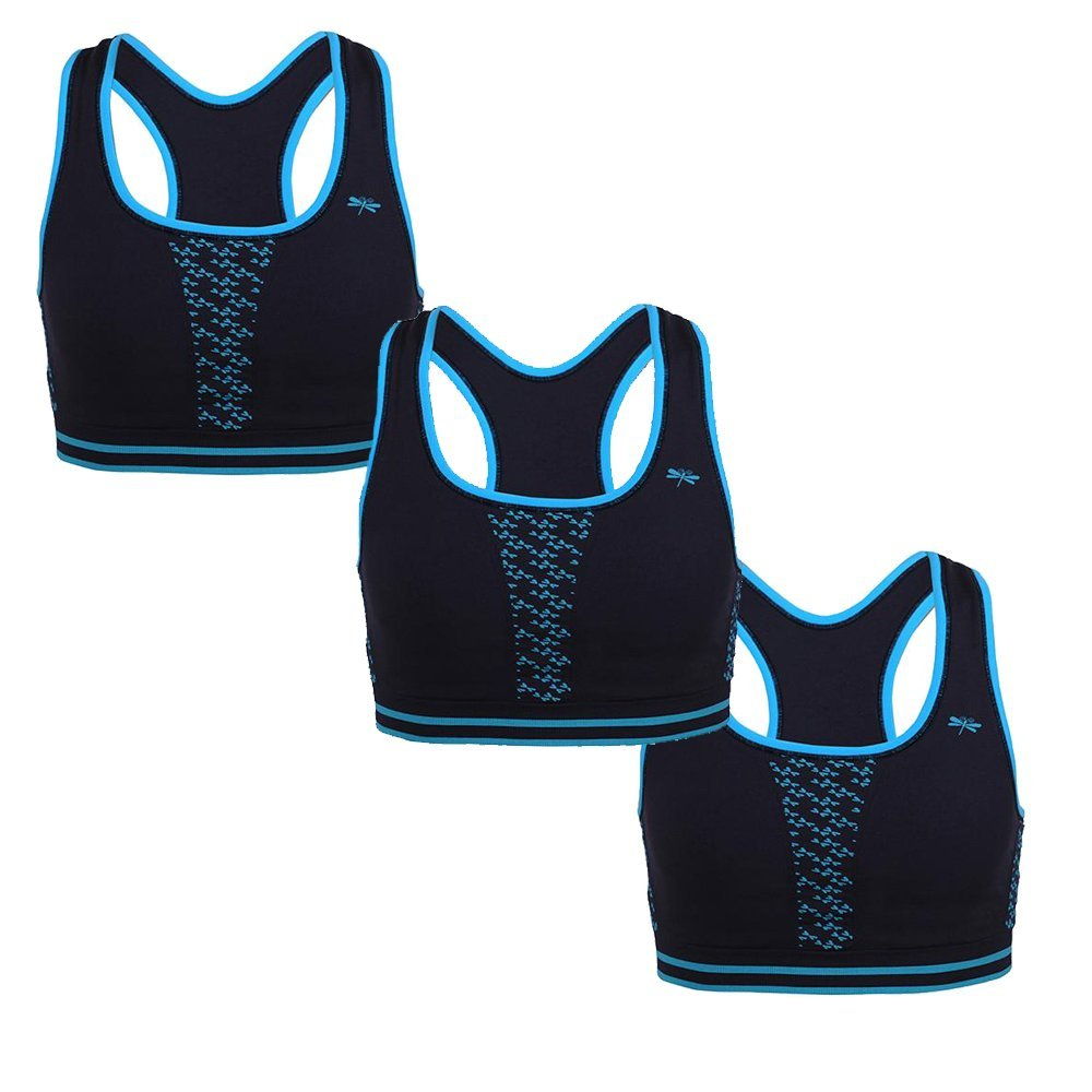 Dragonwing girlgear Racer Sports Bra, Black With Teal, Small (3-Pack)