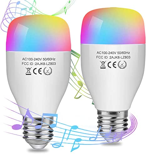 Soft White to Cool White AED Smart Wifi Light Bulb Work With Alexa Goolge Home E26 Base LED Color Changing Light Bulb for Celing Fan No Hub Required A19 Dimmable 1 Pack 16 Million Colors
