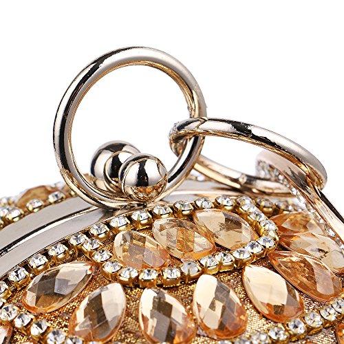 Zamac Novia Plata De Oro De Oro La Bolsa Tarde De Monedero Bolsa Del De Baguettes Partido Incrustado Del Cristal Negro Baile Boda Embrague Reluciente De Diamante De La Caja De tprpqFw
