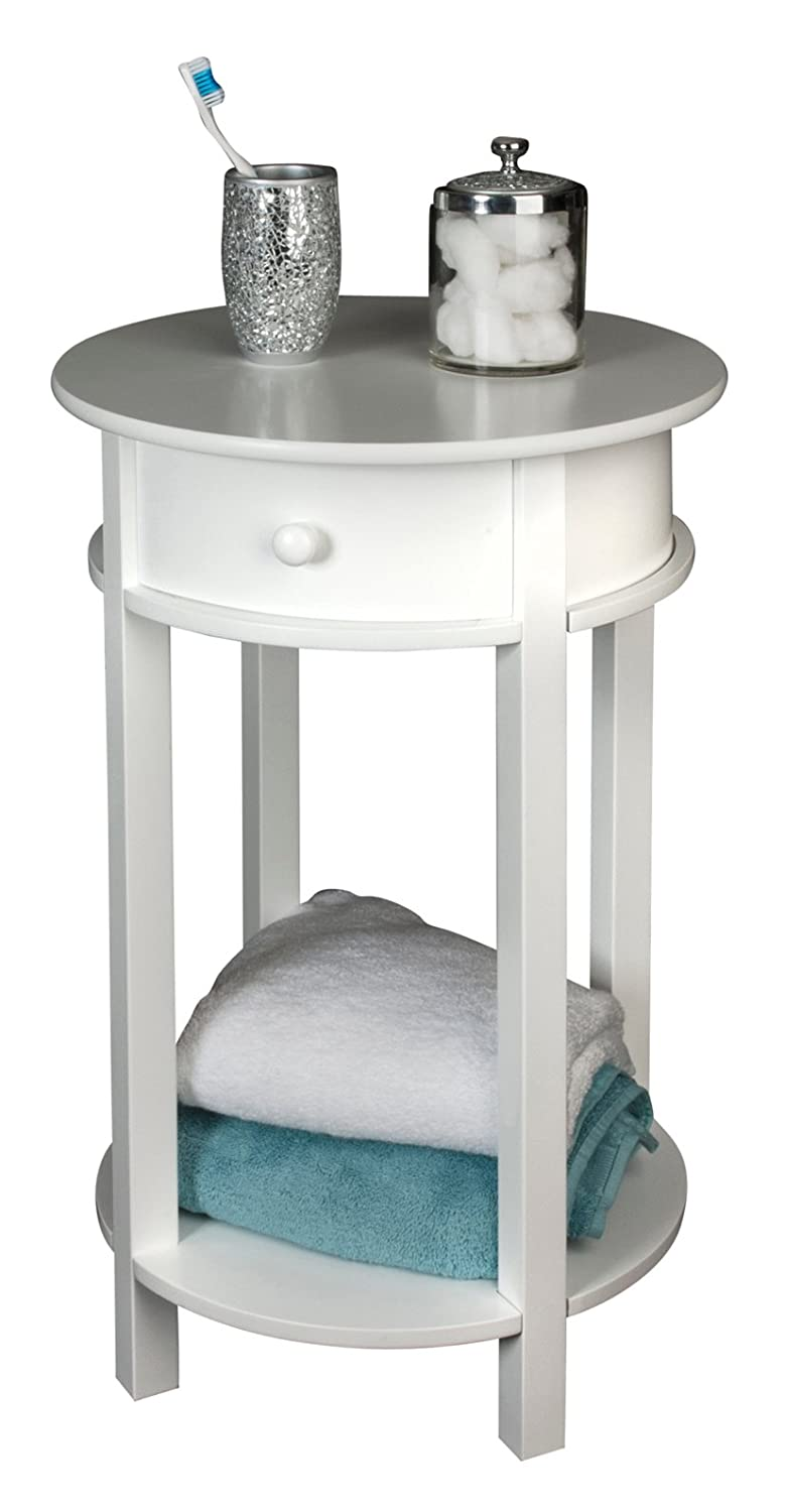 Small round bedside table -  71212 Round White Wooden Round Side Bedside Bathroom Hall Occassional Or Coffee Table Amazon Co Uk Kitchen Home