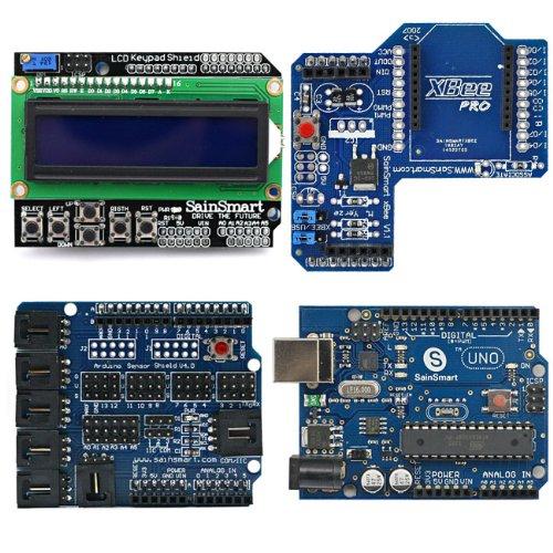 SainSmart UNO, ATmega328p + SainSmart LCD Keypad Shield + SainSmart XBee Shield + SainSmart Sensor Shield V4 for UNO Mega2560 1280 Duemilanove R3 AVR ATMEL Robot