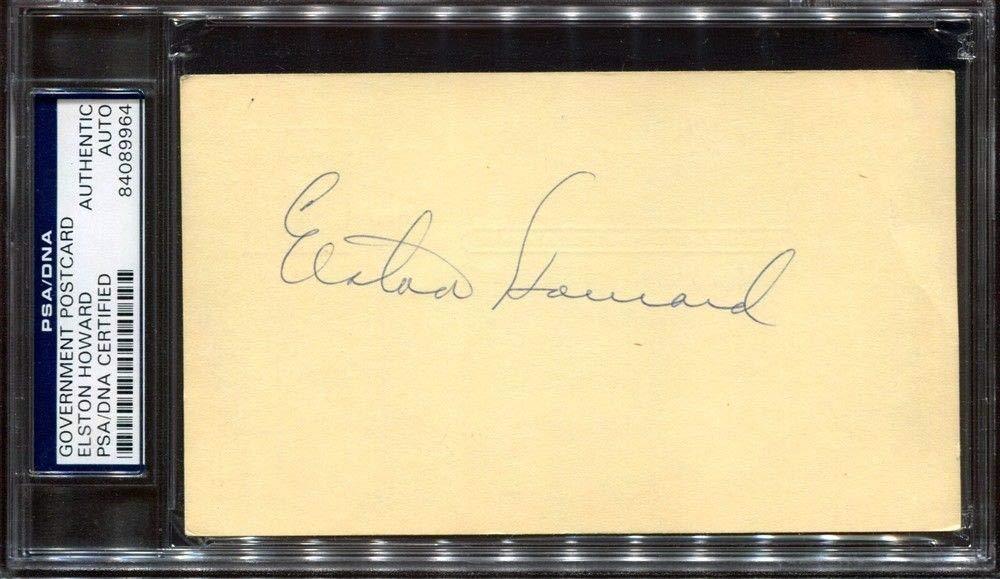 Elston Howard Government Postcard Autographed Signed Auto PSA/DNA JSA