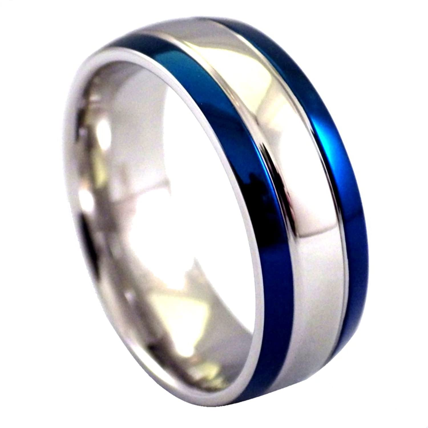 couple rings stainless nul products steel bands titanium personalized blue engagement