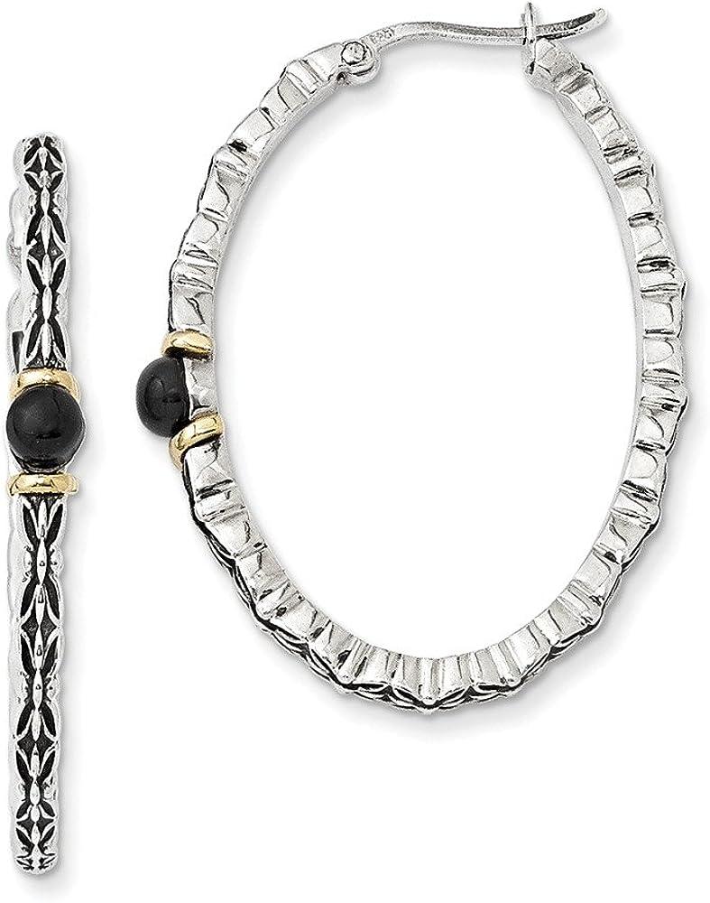 Sterling Silver with 14k 4.5mm Button Onyx Oval Hoop Earrings